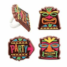 12 Tiki Party Mask Cupcake Rings Luau Party Hawaiian Tropical