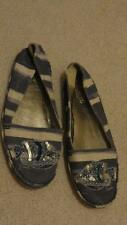 COACH KORIE ESPADRILLE FLAT SHOES SEQUIN FISH DENIM OFF WHITE STRIPES SILVER 8 B