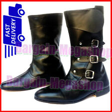 MEDIEVAL LEATHER BOOTS  VIKING PIRATE SHOE MENS BLACK LONG SHOES cg94