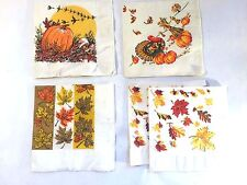 Vtg Lot 5 THANKSGIVING  DAY PAPER NAPKINS 50`s Turkeys Pumkins Corn Oak Leaves
