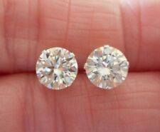 EARRING PAIR SILVER 2.50TCW 1.25ct VVS1 7.15mm ICY WHITE YELLOW ROUND MOISSANITE