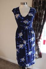 size 18 navy floral print tie back jersey dress from marks and spencer new