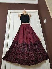 Long Rayon Embroidered Boho Hippy Gypsy Elasticated Skirt Batik Burgundy (12-20)