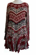 NWT Free People Smooth Talker Tunic Mini Dress or Top Red Long Sleeve, Size XS