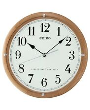 Seiko QXR303Z Alder Wooden Radio Controlled Atomic Analogue Wall Clock New