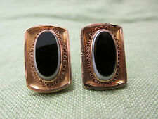 Antique Victorian 1881 Black & White Glass 10k Yellow Gold Ornate Cufflinks