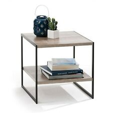 Modern Stylish 2 Tier Industrial Side Table Living Lounge Bookshelf Storage