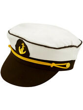 Adult Blue Sailor Captain Hat Peaked Cap Nautical Marine Navy Fancy Dress New