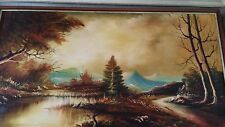 ORIGINAL LANDSCAPE OIL BY LINDI J LARGE RIVER TREES MOUNTAIN AUTUMN BEAUTIFUL