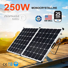 12V 250W Folding Mono Solar Panel Kit Caravan Camping Power Charging