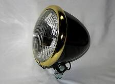"Black Powder Coated 5-3/4"" Bullet Headlight , Brass Plated Ring. Bobber Chopper"