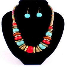 Turquoise Earrings New Handmade Colorful Bead Bib Statement Necklace Jewelry Set