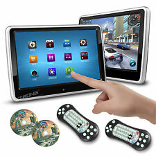 "2X Slim 10"" Touch Screen Car Pillow Clip On Headrest Monitor CD DVD Player Games"