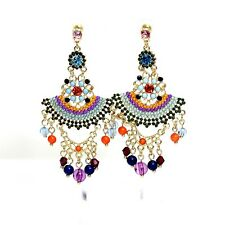 Boucles d`Oreilles Fashion Clous Doré Chandelier Ethnic Multicolore Bleu A1