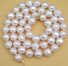 """Real 10-12mm South Sea White Baroque Pearl Necklace 34"""""""