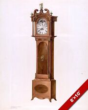 VINTAGE TECHNICAL DRAWING OF GRANDFATHER CLOCK PAINTING ART REAL CANVAS PRINT