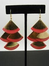 """$12 Carole Inc Dangle Style Fan Earrings Coral Enamel & Goldtone Metal 3"""" Drop"""