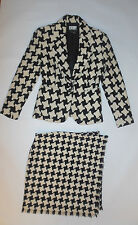 DKNY WOMENS SUIT 2 PIECE JACKET AND SKIRT BLACK OFF WHITE CHECKER 100% WOOL SZ 2