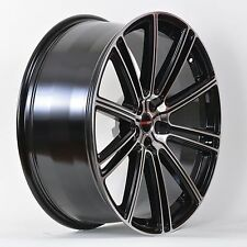 4 GWG Wheels 18 inch Black Machined FLOW Rims fits 5x110 SAAB 9-3 AERO 2004-2011