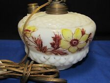 Antique Victorian Painted Glass Oil Lamp Wall Bracket Light,Electric,Floral Patt