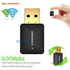 USB WLAN Wireless Adapter Stick 600 Mbit 2.4/5GHz Dual Band 802.11AC PC Dongle