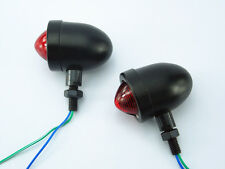 Black Red Bullet Turn Signal Indicator Light For Harley Custom Bobber Chopper