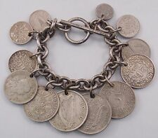 Mixed Foreign 12 Coin Toggle Bracelet w/Silver-Switzerland Germany UK Spain
