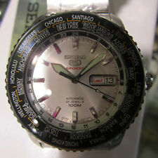 SEIKO 5 MEN'S WATCH WORLD TIME AUTOMATIC  ALL S/S ORIGINAL JAPAN SRP123J1 NEW