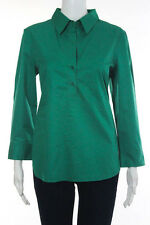 Theory Green Cotton V Neck Long Sleeve 3/4 Button Blouse Size Large