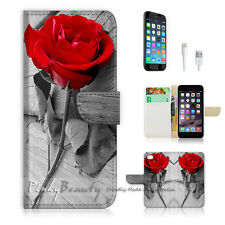 "iPhone 6 (4.7"") Print Flip Wallet Case Cover! Red Rose P0086"