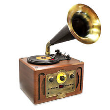 Retro Style Turntable Horn Phonograph Gramophone w/ AM/FM CD Player Bluetoo