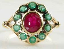 RARE COMBO  9CT GOLD INDIAN RUBY & EMERALD CLUSTER ART DECO INS RING FREE RESIZE