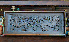Antique English Carved Oak Countertop or Table Coffee Tea Serving Tray Griffons