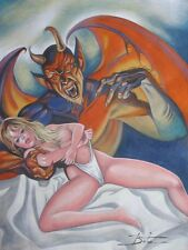 ORIGINAL PULP ILLUSTRATION COVER ART PAINTING SEXY PINUP DEMON AWESOME PAINTING!