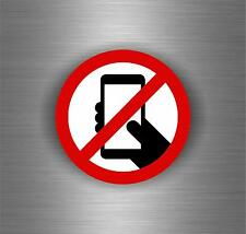Sticker decal sign no phone zone mobile cell phones adhesive indoors outdoors