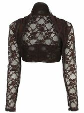NEW LADIES WOMENS CROPPED LACE LONG SLEEVE SHRUG BOLERO LACE JACKET CARDIGAN TOP