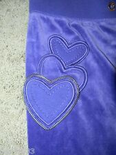 "NWT $118-Juicy Couture Purple ""Eggplant"" Hearts Logo Womens Velour Pants-XS"