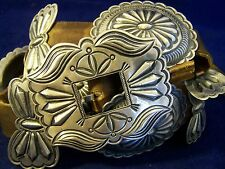 L 9+ozt HARRY MORGAN signed Heavy Navajo CONCHO BELT buckle .925 Sterling Silver