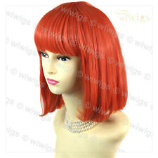 Wiwigs Lovely Straight Neon Red Bob Cosplay Party Hair Ladies Wig