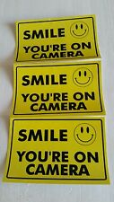 VIDEO SURVEILLANCE Security Decal  Warning Sticker (smile you're )set of 3 pcs