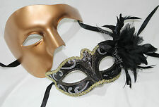 HIS HERS PAIR Of GOLD COUPLES VENETIAN MASQUERADE PARTY EYE MASKS