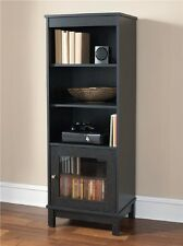 Audio Media Tower Cabinet Entertainment Center Library Glass Door Black Ebony As