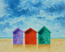 Original Seascape Beach Hut Art Acrylic Painting On Canvas Artwork Warren Green