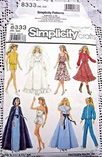 8333 SEWING PATTERN 8333~UNCUT 1987~BARBIE DOLL CLOTHES:ROMPER&WESTERN OUTFIT++
