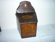 Antique John Buchanan & Bros Unusual Tin Wall Hanging Candle Salt Box Display