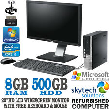 "Fast Dell Quad Core i5 PC 8GB Win 7 20"" HD LCD Monitor Full Set Bundle Computer"