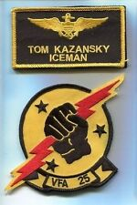 TOM ICEMAN KAZANSKY TOP GUN MOVIE F-14 TOMCAT Navy Squadron Costume Patch Set 2