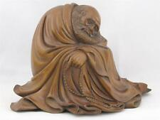 BEAUTIFUL VINTAGE CHINESE WOOD CARVING OF THE BUDDHIST MONK BODHIDHARMA