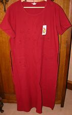 VINTAGE & NEW @ TAGS 100% cotton LOOSE FIT WINE/RED SUNDRESS EMBROIDERED B 46""