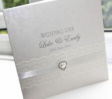 Personalised Handmade Wedding Card Lace Pearl by Charlotte Elisabeth W005